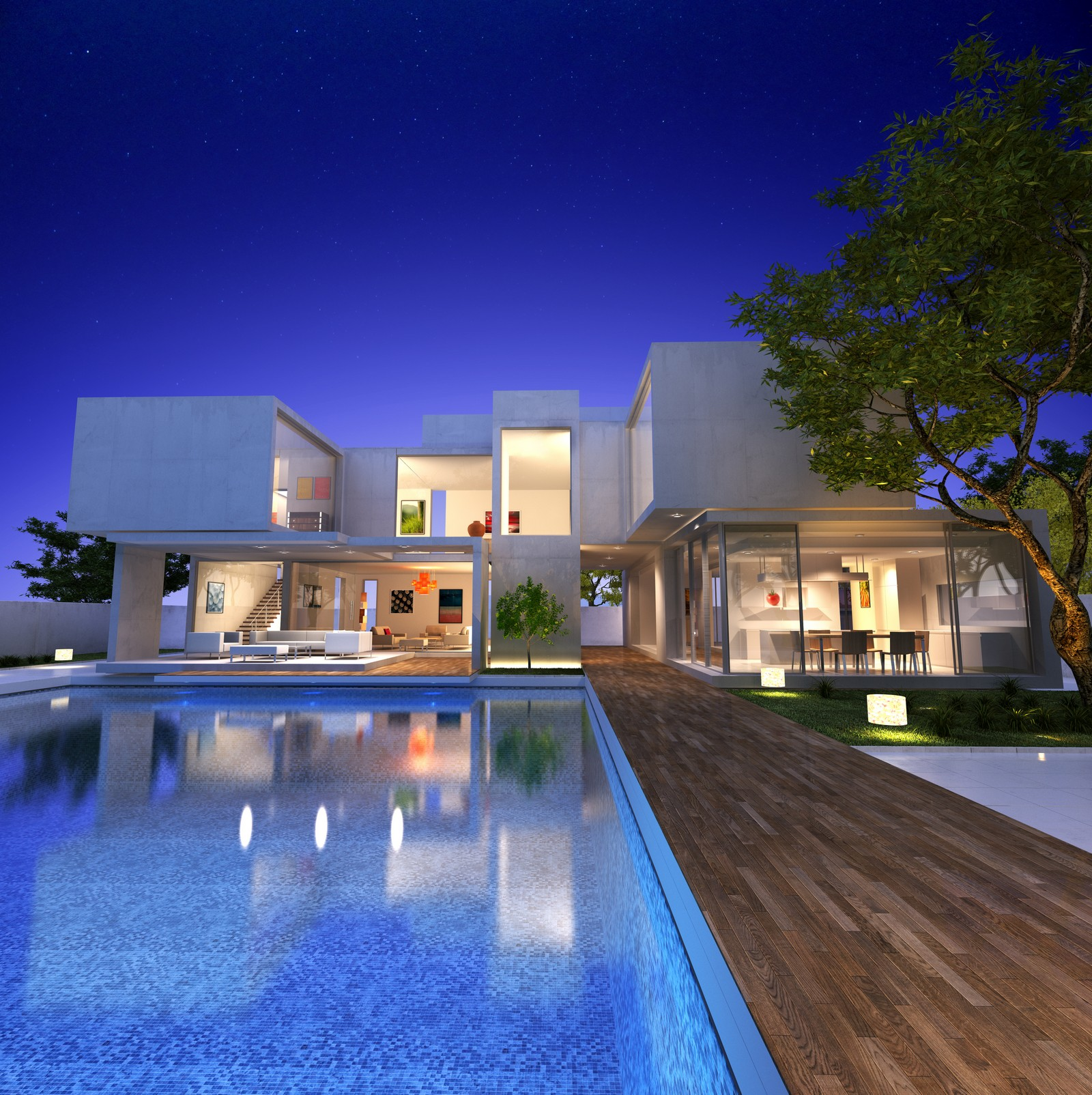 Contemporary house with pool lounge