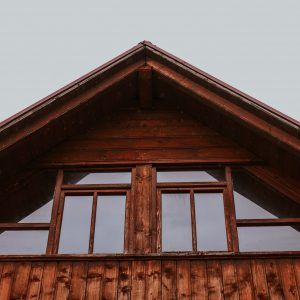 Wooden roof of a cabin in the woods